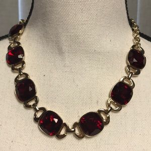 WHBM Red Faceted Stone Gold Necklace